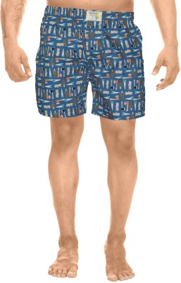 Clickroo Printed Men's Blue Boxer Shorts