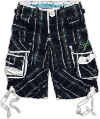 Blacksoul Checkered Men's Black, White Cargo Shorts