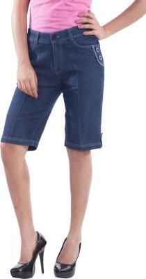 TrendBAE Solid Women's Denim Grey Denim Shorts