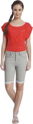 Only Solid Women's Grey Denim Shorts at flipkart