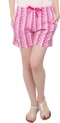 Clovia Printed Women's Pink Basic Shorts at flipkart