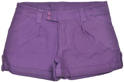 Bio Kid Solid Girl's Purple Basic Shorts