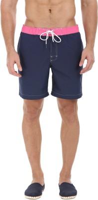 Zobello Solid Mens Blue, Pink Swim Shorts
