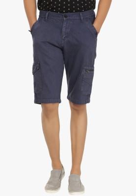Fever Solid Men's Blue Denim Shorts