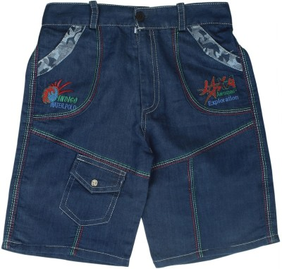 Kabeer Solid Boy's Denim Blue Denim Shorts