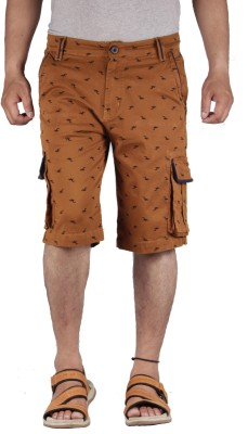 FBM Self Design Men's Brown Cargo Shorts