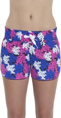 Speedo Printed Women's Blue Beach Shorts, Swim Shorts