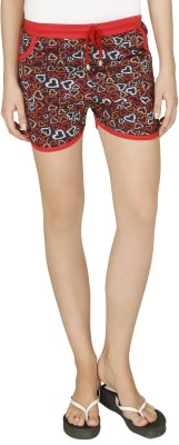 Red Ring Printed Women's Red Night Shorts