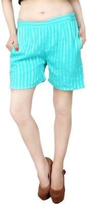 Natty India Striped Women's Light Blue Basic Shorts