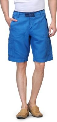 Global Nomad Solid Men's Blue Cargo Shorts