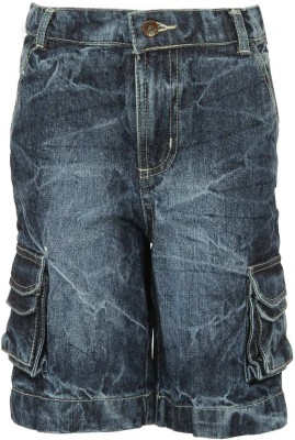 Bells and Whistles Solid Boy's Blue Denim Shorts