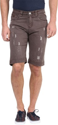 CODE 61 Chevron Men's Brown Denim Shorts
