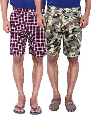 Calloway Printed Men's Black, Light Green, Red Basic Shorts