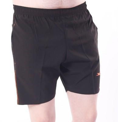Zagros Solid Men's Black, Orange Sports Shorts, Gym Shorts, Cycling Shorts