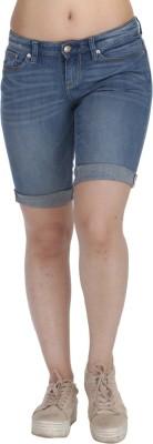 Fast n Fashion Solid Women's Blue Denim Shorts