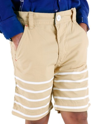 Biker Boys Striped Boy's Beige Basic Shorts