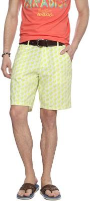People Printed Men's Yellow Denim Shorts