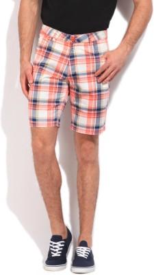 John Players Checkered Men's White, Blue, Pink Basic Shorts