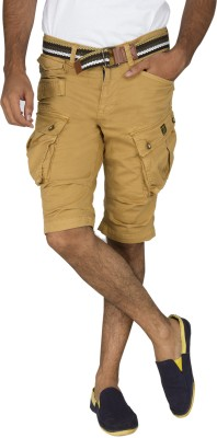 Rookies Solid Men's Brown Cargo Shorts