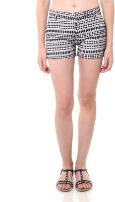 Lyla Embroidered Women's White, Black Basic Shorts