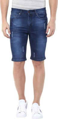 American Crew Solid Men's Blue Denim Shorts