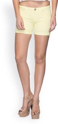 Tarama Solid Women's Yellow Basic Shorts