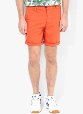 Jack & Jones Solid Men's Orange Denim Shorts