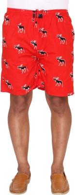 Ramarrow Printed Men's Red Bermuda Shorts
