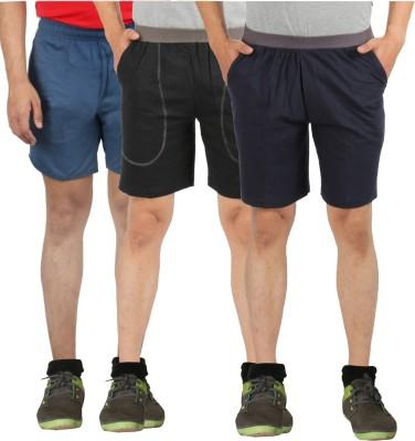 Fizzique Solid Men's Black, Blue, Green Basic Shorts