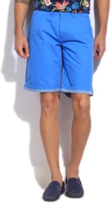 Flying Machine Solid Men's Blue Basic Shorts