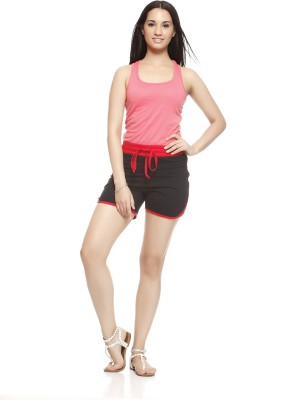 Gritstones Solid Women's Black, Red Basic Shorts