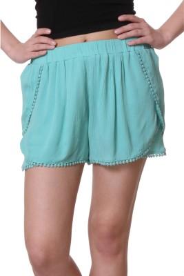 Purys Solid Women's Light Green Basic Shorts