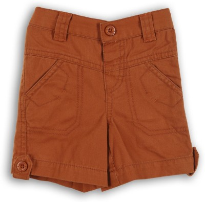 Lilliput Solid Baby Boys Orange Cargo Shorts