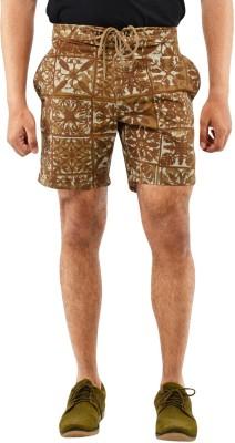 Blue Wave Printed Men's Brown Basic Shorts