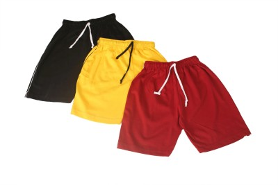 Weecare Solid Boy's Black, Yellow, Red Basic Shorts