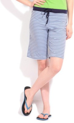 Happy Hours Striped Women's Dark Blue Bermuda Shorts