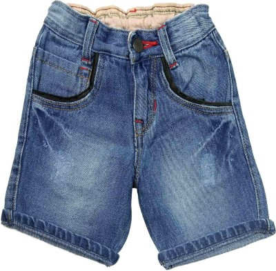NASCENT Solid Baby Boy,s Blue Denim Shorts