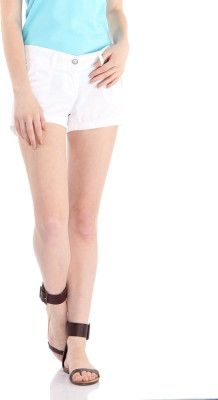 Pepe Jeans Solid Women's White Basic Shorts