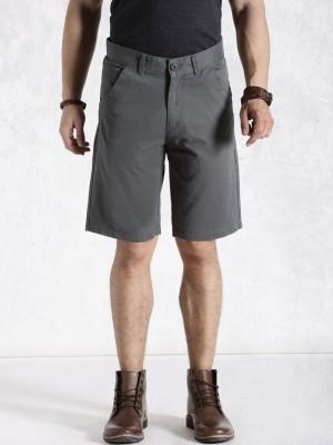 Roadster Solid Men's Grey Basic Shorts
