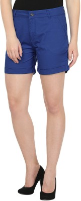 United Colors of Benetton Solid Women's Blue Chino Shorts at flipkart