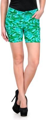 Fashion Cult Printed Women's Green Hotpants at flipkart
