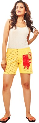 Udankhatola Polka Print Women's Yellow Basic Shorts