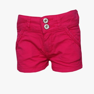 Tales & Stories Solid Baby Girl,s Denim Pink Basic Shorts