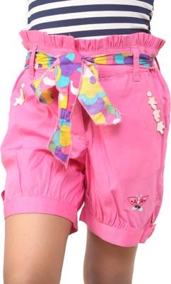 Ebry Solid Girl's Pink Basic Shorts