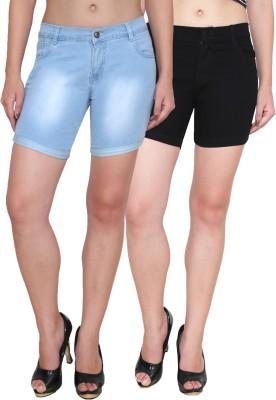 Ansh Fashion Wear Solid Women's Black, Blue Denim Shorts