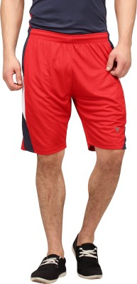 Campus Sutra Solid Men's Red Sports Shorts