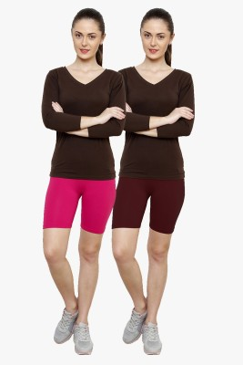 Softrose Solid Women's Pink, Maroon Cycling Shorts