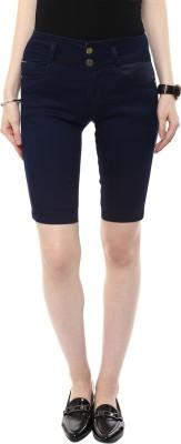 CODE 61 Self Design Women,s Dark Blue Denim Shorts