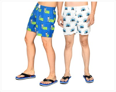 Flamboyant Printed Men's White, Blue Boxer Shorts