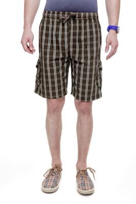 Trends Checkered Men's Brown Cargo Shorts